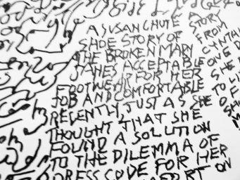 Close-up of Susan Chute shoe story